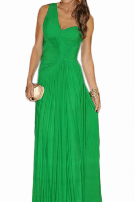 long cheap green one shoulder prom dresses , sexy floor length backless prom dresses,