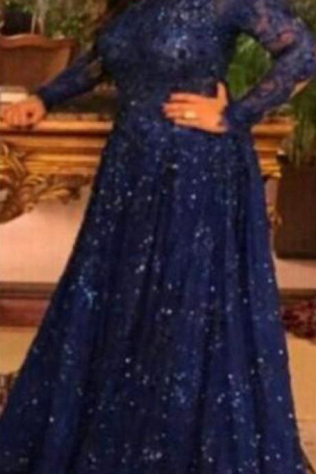 Royal Blue Beading And Appliques Prom Dresses, Lace A-line Evening Dresses,