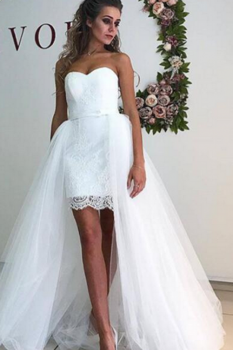 Strapless Sweetheart Lace Appliqués Wedding Dress with Detachable Train