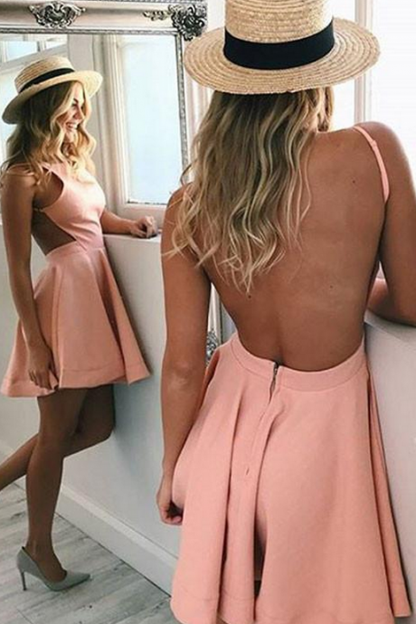 A-Line Crew Neck Backless Pink Satin Homecoming Dress,Short Homecoming Dresses
