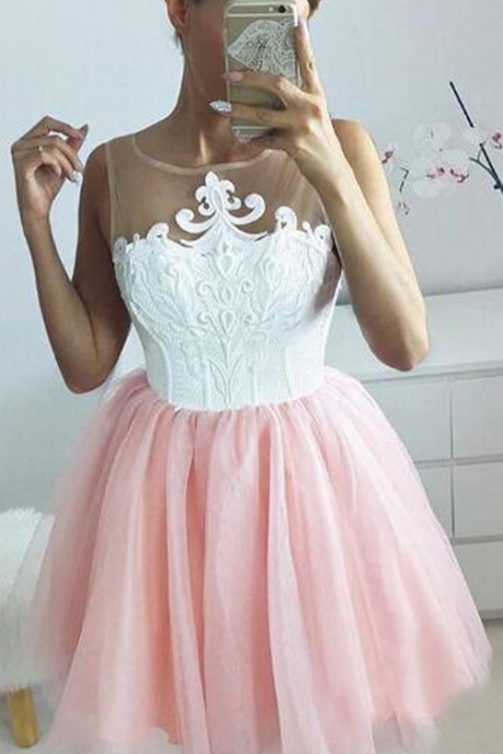A-Line Jewel Appliques Blush Tulle Homecoming Dress,Short Homecoming Dresses