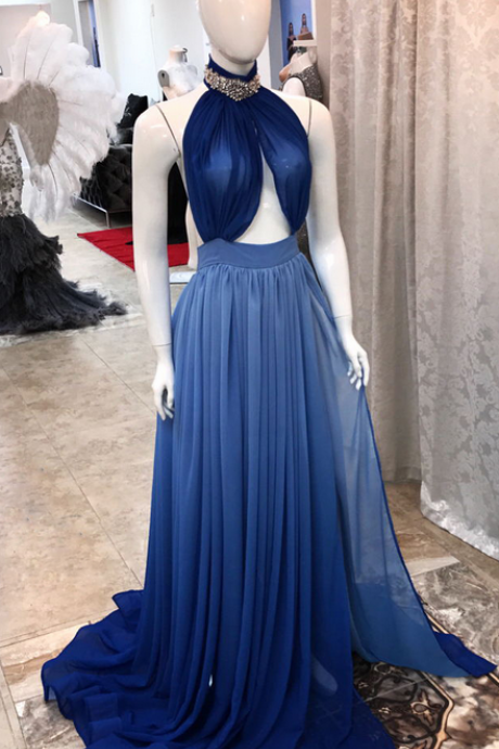 Sexy Prom Dress, Navy Blue Prom Dress, High Neck Prom Dress, Beaded Prom Dress,