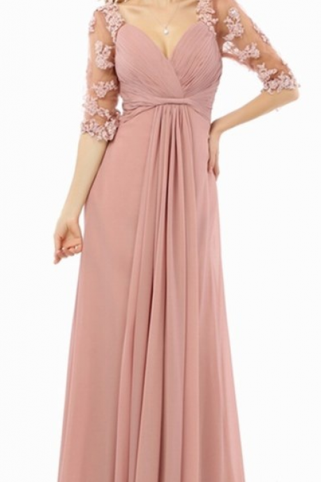 A line Half sleeve Applique Chiffon Long Elegant Evening dress Formal Gowns