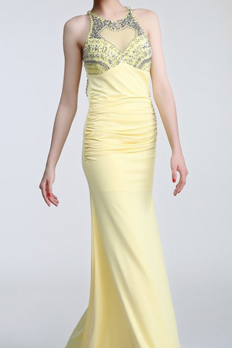 Daffodil Long Beaded Open Back Prom Evening Dresses