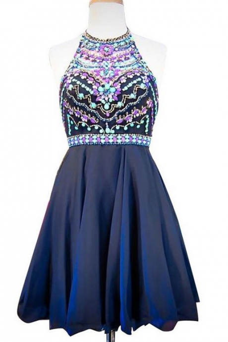 Navy Blue Halter Beaded A-line Short Homecoming Dress, Cocktail Dress, Party Dress