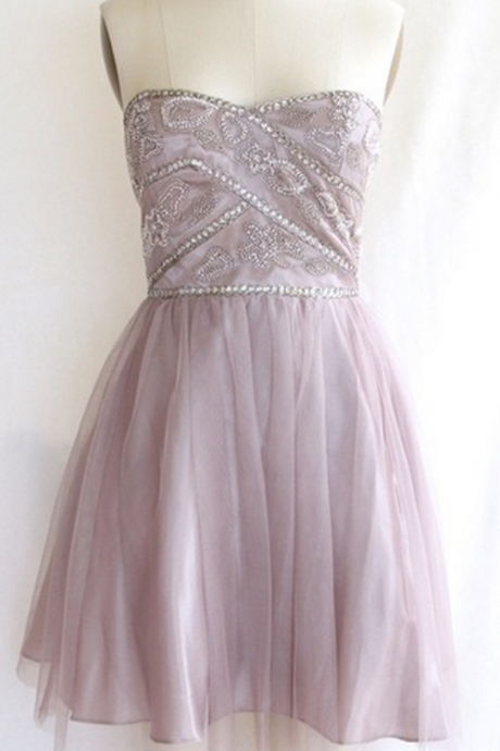 Beaded Strapless Tulle Cocktail Dress, Short Party Dress, Homecoming Dress