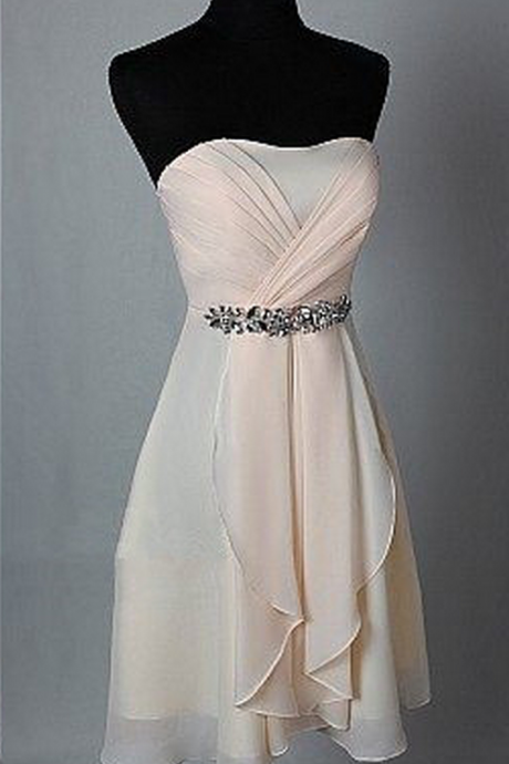 Short Chiffon Homecoming Dresses Sweetheart Crystals Bridesmaid Dresses Party Dresses
