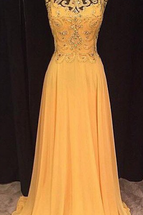 Long Yellow Prom Dress, Yellow Chiffon Long Prom Dress, Yellow Evening Dress