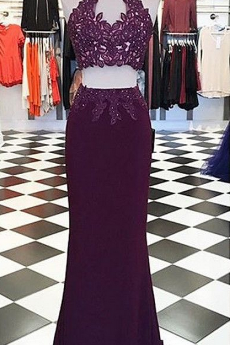 Mermaid Prom Dress - High Neck Keyhole Open Back Lace-up Appliques Beading