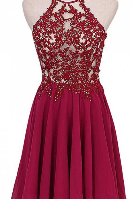 Lovely Short Wine Red Lace Applique and Chiffon Party Dresses, Burgundy Homecoming Dresses, Short Homecoming Dresses