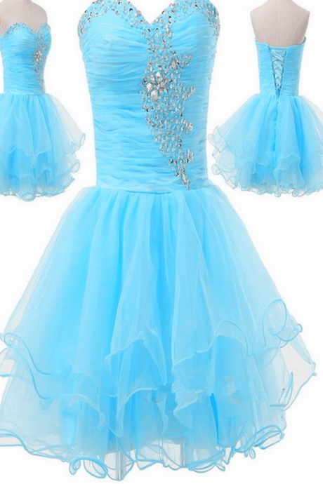 Adorable Sweetheart Beaded Short Light Blue Homecoming Dresses, Cute Prom Dresses,