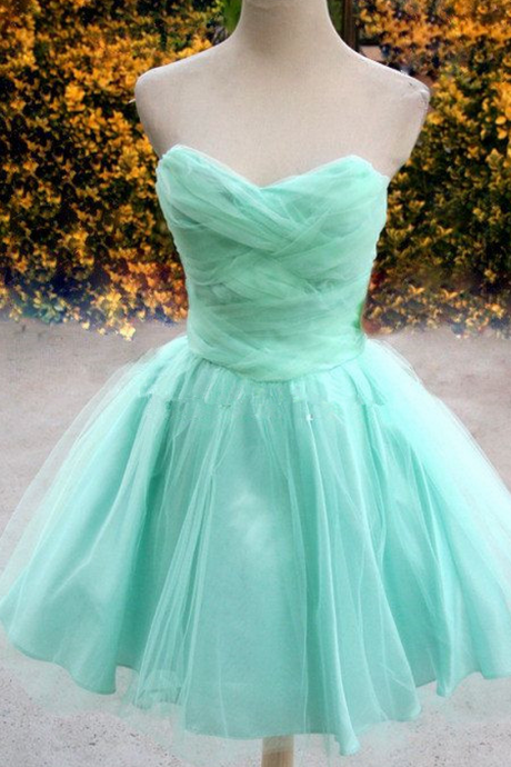 Cute and Stylish Tulle Short Handmade Prom Dresses
