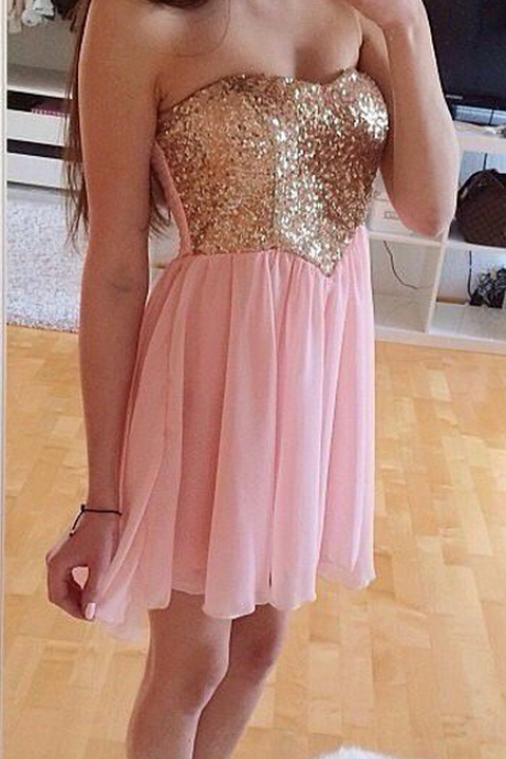 Handmade Sparke A-Line Short Pink Chiffon With Sequins, Short Prom Dresses, Homecoming Dresses,