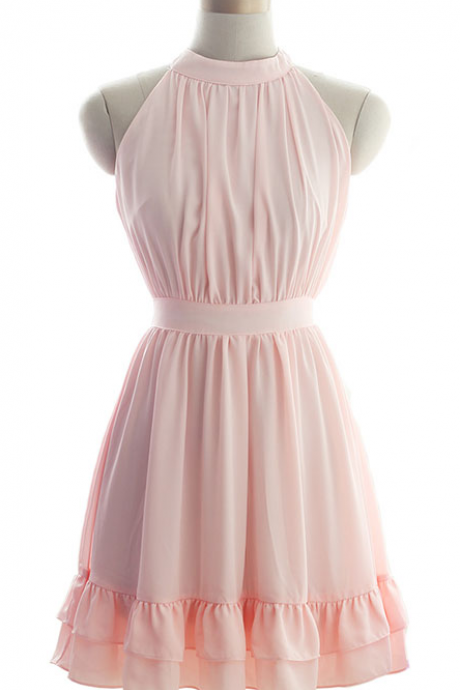 Pretty Chiffon Pink Halter Short Prom Gown with Bow, Cute Short Prom Dresses