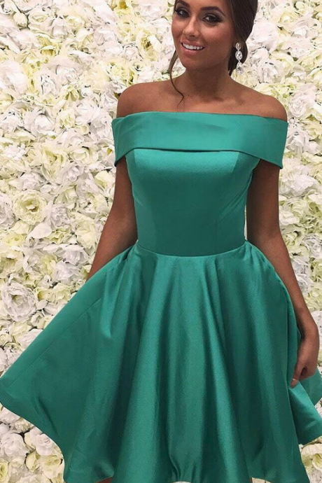 Off The Shoulder Dress,Satin Homecoming Dress,Short Prom Dresses,Sexy Cocktail Party Dresses