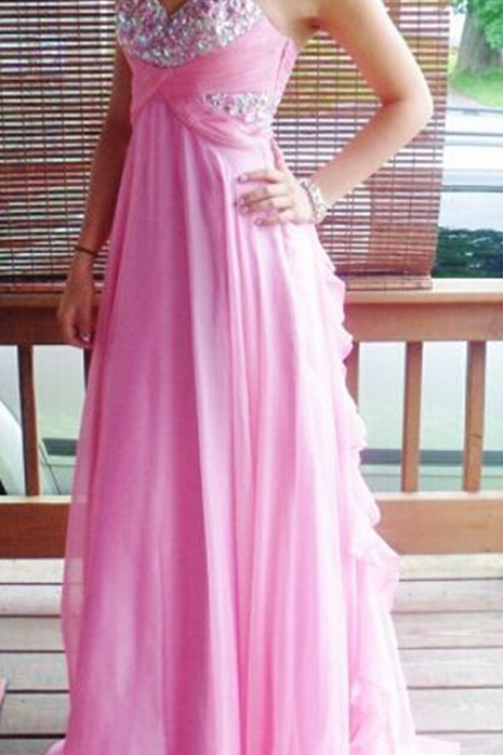 A-line Sweetheart Beads Crystals Long Chiffon Prom Dress Long Bridesmaid Dress