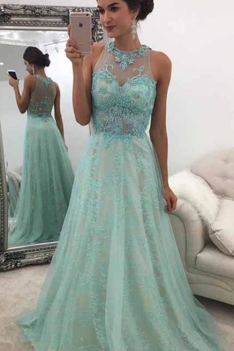 A-Line Round Neck Sweep Train Mint Green Prom Dress with Beading Lace