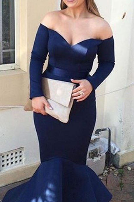 Charming Prom Dress,Navy Blue Prom Dress,Long Prom Dress,Sexy Prom Dress