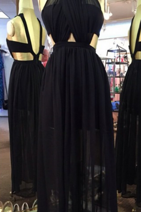 Black Prom Dresses,Backless Prom Dress,Chiffon Prom Dress,Long Prom Dresses,