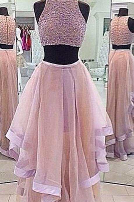A Line Prom Gown,Two Piece Prom Dress,Evening Gowns,2 Pieces Party Dresses,Champagne Evening