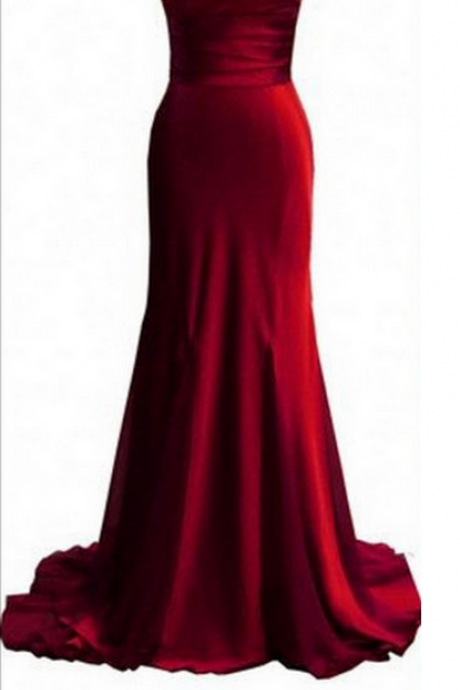 Prom Gown,Pretty Off Shoulder Burgundy Prom Dresses With Satin, Evening