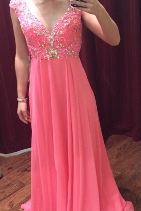 Pink Backless Prom Dresses,Open Back Prom Gowns, Pink Prom Dresses