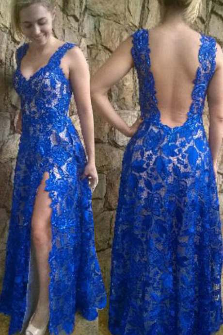 Royal Blue Prom Dress,Backless Formal Gown,Open Back Prom Dresses,Open Backs Evening