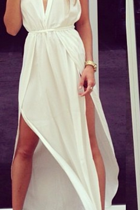 Sexy Prom Dresses Deep V Neck Sleeveless Chiffon Side Slit Ankle Length Sash White Cross