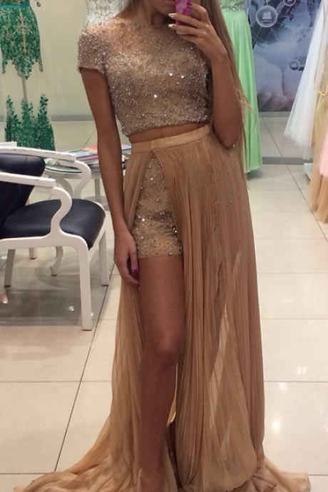 Gorgeous Beading Crystals Two Piece Prom Dresses 2016 Sexy Short Pants With Detachable Skirt Short