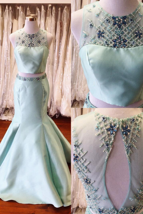 Two Pieces Long Mermaid Satin Prom Dresses For Teens,Handmade Mint Backless Prom Gowns