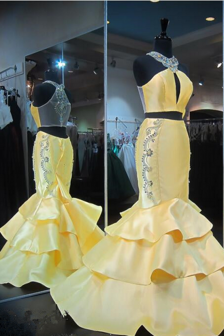 Gorgeous Zipper Yellow Evening Gown Mermaid Halter Yellow Ruffles Sleeveless Crystals Prom Dress