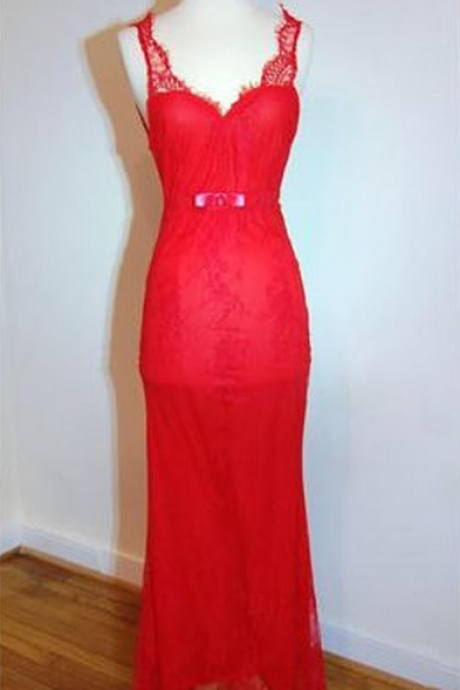 Red Prom Dresses,Charming Evening Dress,Prom Gowns,Lace Prom Dresses