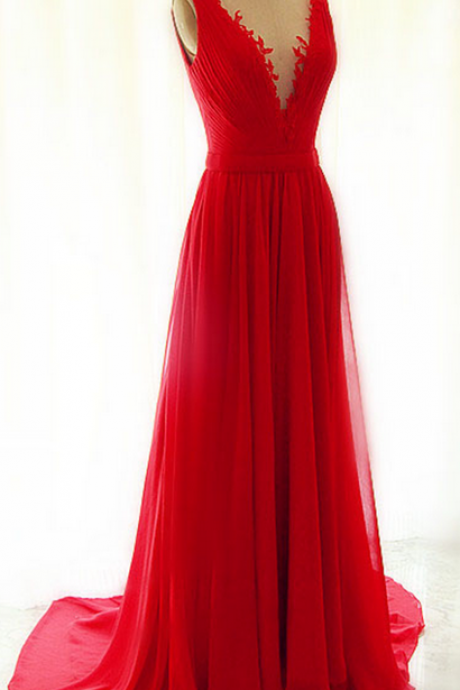 Beautiful Red Chiffon Long V-neckline Handmade Evening Gowns with See Through Tulle, Red Party Dresses,