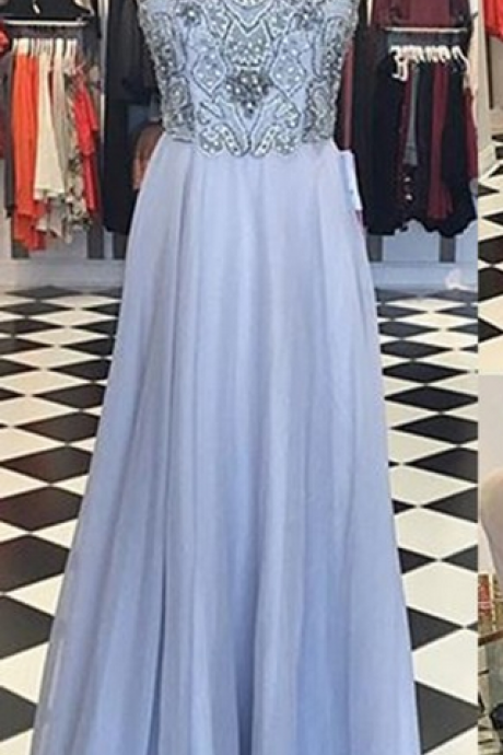 A-Line Crew Neck Illusion Back Floor-Length Lavender Prom Dress with Beading