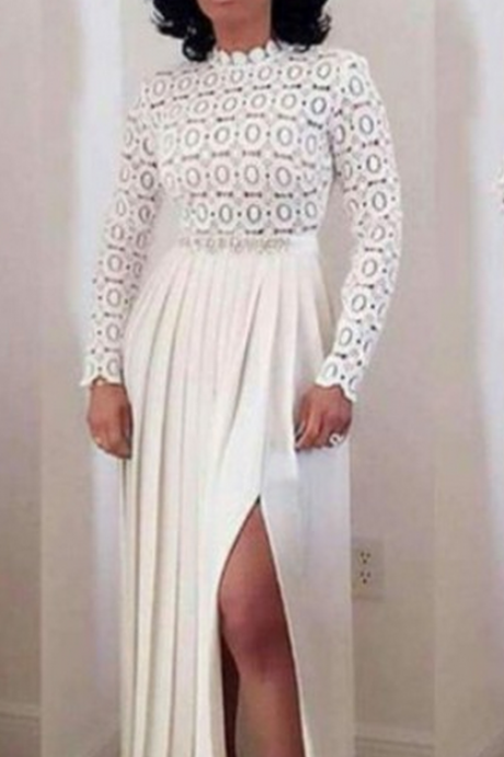 White Prom Dress,Split Prom Dress,Long Sleeve Prom Dress,Fashion Prom Dress,Sexy Party Dress, New Style Evening Dress