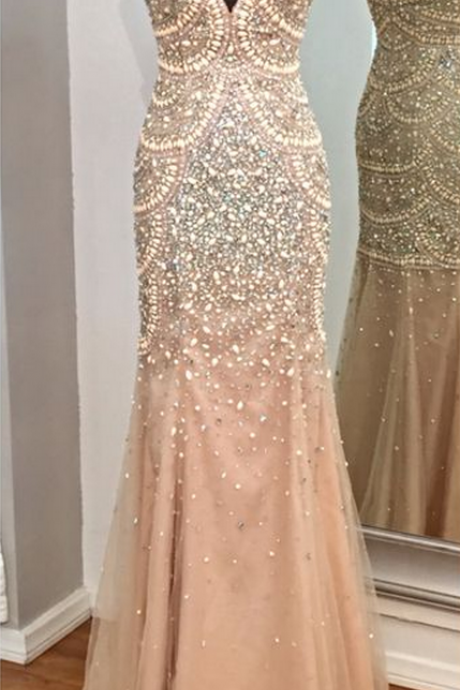 Prom Gown,Champagne Prom Dresses,Mermaid Prom Gowns,Tulle Prom Dresses,Beading Prom Dresses,Mermaid Prom