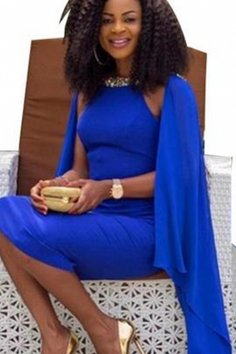 African Royal Blue Evening Dresses Tea Length Caped Beaded with Rhinestones Bodycon Backless