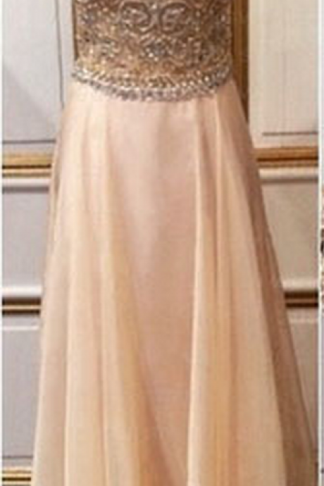 long prom dress, cap sleeve prom dress, popular prom dress, formal prom dress, champagne prom