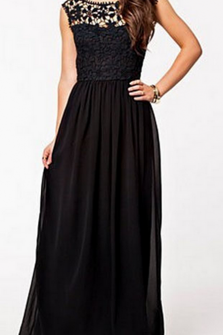 Custom Made Lace Illusion Neckline Chiffon Floor Length A-Line Prom Dress with Open Back