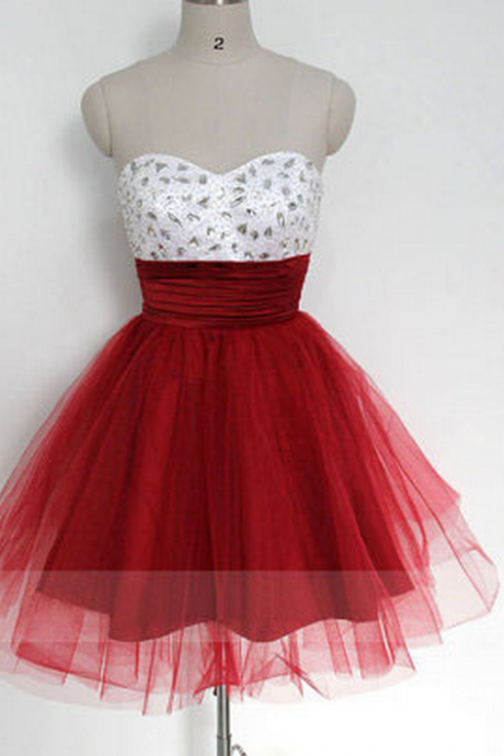 short prom dress, red prom dress, sweet heart prom dress, knee-length prom dress, lovely prom dress,