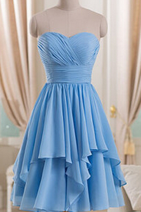 Blue Chiffon Ruched Sweetheart Short Ruffled A-Line Bridesmaid Dress
