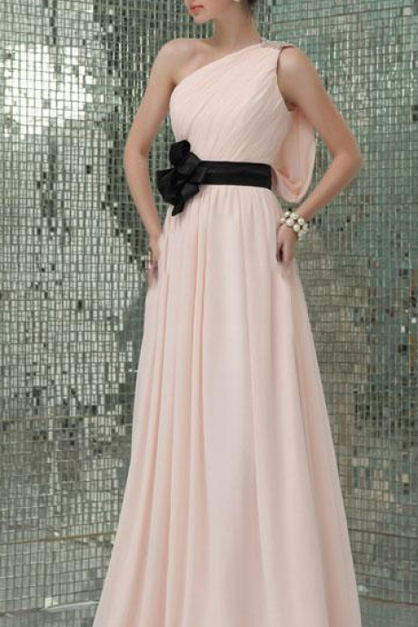 Simple New Pink Beaded One Shoulder Long Girls Prom Dress With Black Flower Sash Pleated Chiffon Floor Length A-Line Evening Dresses Gowns