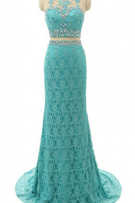 Charming Prom Dress, Ladies Sheath/Column Scoop Neck Lace Tulle Sweep Train Beading Two Piece Prom Dresses
