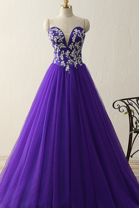 Charming Prom Dress, Sweetheart crystal beads satin tulle floor length ball gown vintage dress