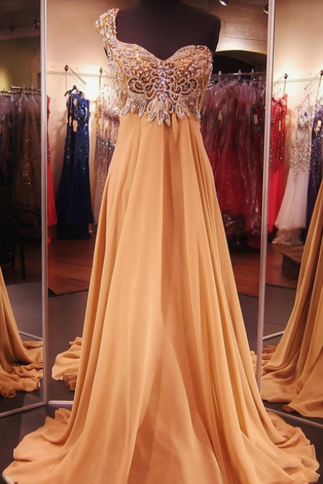 Champagne Prom Dress,Senior Prom Dresses,Cheap Prom Gown,Prom Dress One Shoulder,Prom Dress