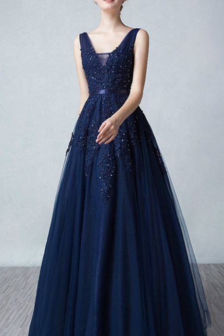 long prom dress,a line prom dress,v neck prom dress,sexy prom dress,lace prom dress,navy blue prom dress,