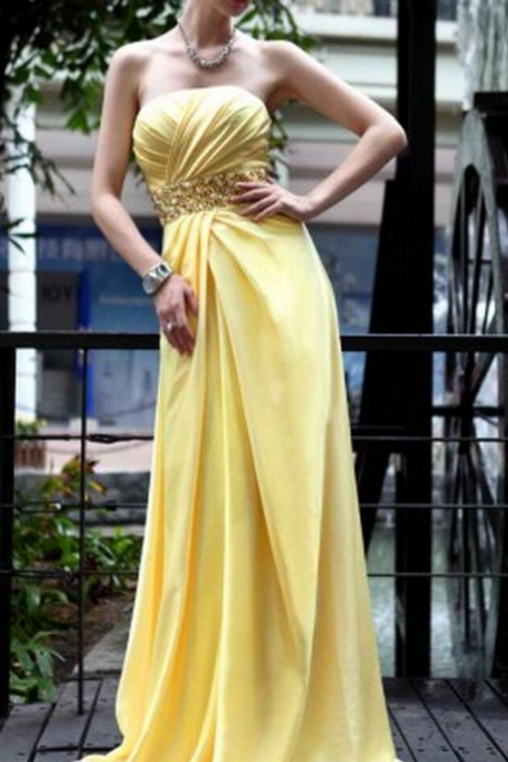 Prom Dress,strapless prom dress , long prom dress , chiffon pleats prom dress , chiffon evening dress , beadings evening