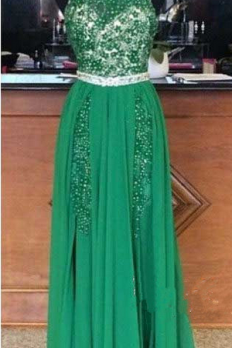 Prom Dress,Sexy Prom Dress,Halter Prom Dress,Beaded Prom Dresses, Backless Prom Dresses, Green Prom