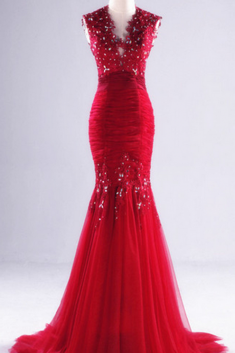 Prom Dress,New Appliques Beading Real Made Mermaid Charming Prom Dresses,Long Evening Dresses