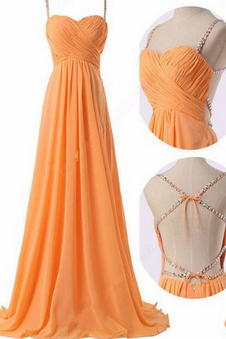 Cute Orange Cross Back Long Straps Prom Dress, Cute Prom Dresses, Party Dresses, Party Dresses,